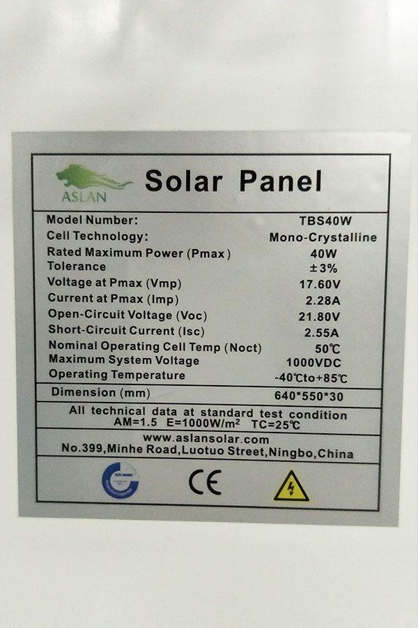 Mono-Crystalline 50W Solar Panel